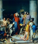 Image of Jesus drives the money changers from the temple. 