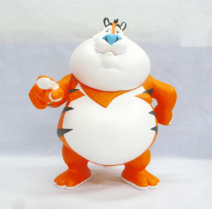 Limited edition art sculpture Sugar Frosted Fat Tony, a vinylized riff on Kelloggs' Tony the Tiger, has 'humorously exaggerated' the mascot's heft as a commentary on the low nutritional value of the cereal.