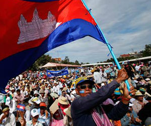 Carrying banners which 'Hun Sen must step down!,' demonstrators marched through the capital every day this week to press the Cambodian leader to meet their demands.