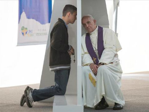 Pope Francis famously heard confessions during World Youth Day in Brazil.