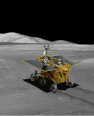 The Yutu is a six-wheeled lunar rover equipped with four cameras and two mechanical legs that can dig up soil samples.