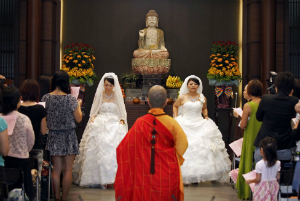 Taiwan saw its first gay marriage in 2012, although such marriages are not sanctioned by the state.