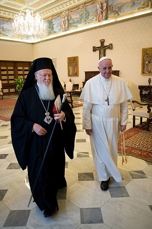 Patriarch Bartholomew and Pope Francis,Andrew and Simon Peter