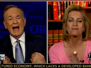 Fox News mega personality Bill O'Reilly interviewing radio personality Laura Ingraham