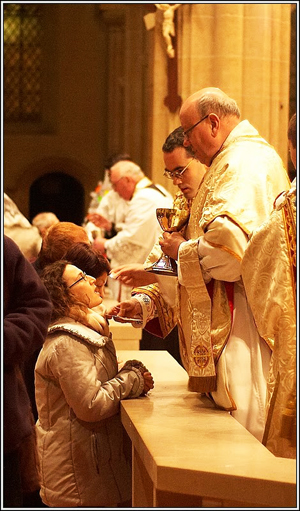 Receiving the Eucharist.