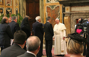 Pope Francis meets with representatives from the Dignitatis Humanae Institute.