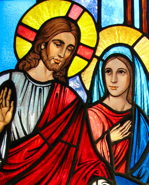 Beautiful stained glass window of Jesus and Mary.
