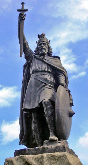 King Alfred, who died in 899, held back the Viking invaders, established the foundations of our law codes and justice system, and safeguarded the English language and Christian religion.