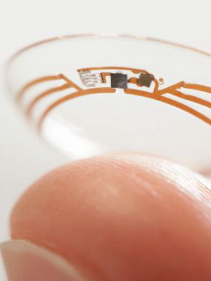 The smart contact lens can measure glucose levels in tears by using a tiny wireless chip and miniaturized glucose sensor that are embedded between two layers of soft contact lens material.