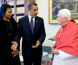 U.S. President Obama had an audience with former Pope Benedict XVI in July of 2009.