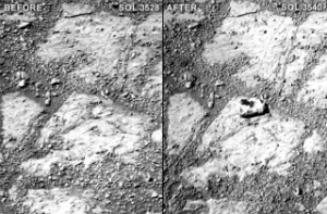 The before and after image that shows where the mysterious rock appeared.