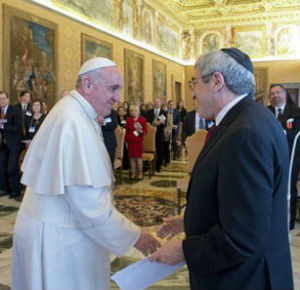 Pope Francis told the American Jewish Committee delegation that both the Jewish and Catholic communities must also find ways to work together to construct 'a more just and fraternal world.'