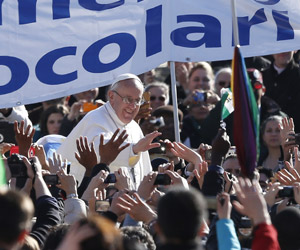 Pope Francis among the hundreds of thousands of members of the Ecclesial movements who gathered in Rome on Pentecost.