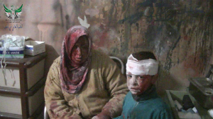 Civilians injured in an alleged bombing in Homs. Many more are starving and the UN cannot provide aid due to the ongoing siege. Some civilians have been evacuated and fed, many more have escaped on their own, but most remain besieged.