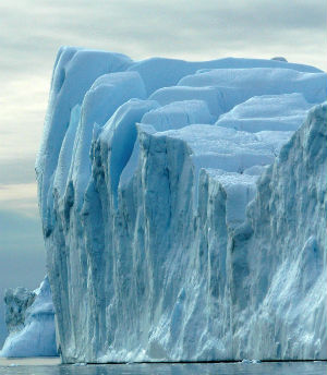 The Jakobshavn Glacier, widely thought to have spawned the iceberg that sank the Titanic is now moving about four times faster than it was in the 1990s.