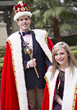 Image of University of St. Thomas Mardi Gras King and Queen, C.J. Miller and Meredith Smith.