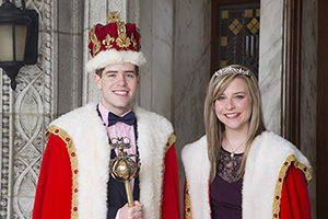 University of St. Thomas Mardi Gras King and Queen, C.J. Miller and Meredith Smith.