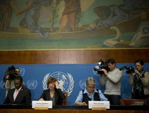 UN officials during the presentation of the report, which was a major media affair.