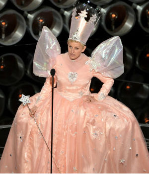 Host Ellen DeGeneres kept the crowd in stitches by handing out pizza to the crowd, took an epic selfie with the big stars, and even dressed up as Glinda the Good Witch from the 'The Wizard of Oz.'