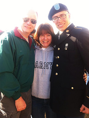 My hubby, Jim, and I with our soldier, Christopher, on Family Day.