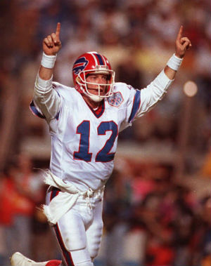Jim Kelly was quarterback for the Buffalo Bills for 11 seasons. In 2001 the team retired his number 12 jersey.