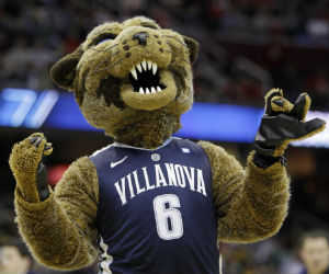 The Villanova wildcat mascot urges his team to victory.