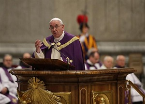 Pope Francis preaching at Penance Service (Reuters/Max Rossi)
