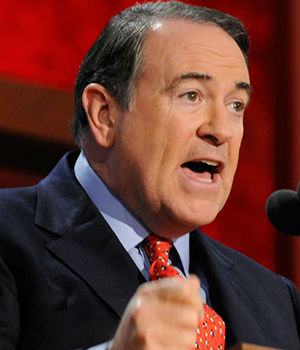 Mike Huckabee accused the president of being a weak leader. 'I know that the only time Vladimir Putin shivers is when he has his shirt off in a cold Russian winter,' he said. 'No one trusts us; no one listens to us; no one respects us and no one fears us.'