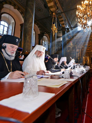 The patriarchs called for 'peaceful negotiations and prayerful reconciliation in the ongoing crisis in Ukraine' and denounced what they said were 'threats of violent occupation of sacred monasteries and churches' there.