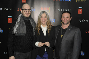 Patti Smith is flanked by Director Darren Aronofsky (left) and Producer Scott Franklin (right) during a special screening of 'Noah.'