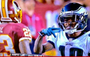 Jackson threw up Crip gang signs during a 2013 game against the Washington Redskins.
