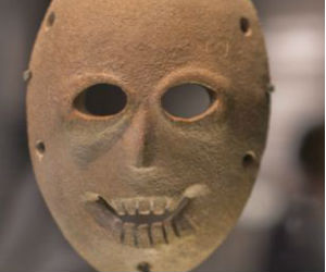 Some of the faces on the masks are young; others appear old and are thought to represent venerated ancestors.