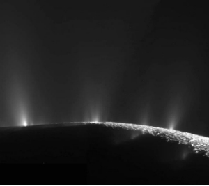 Jets of water, rich in organic molecules spew over the icy surface of Enceladus.