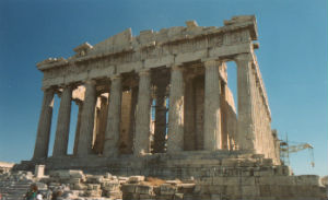The Parthenon, located in Athens, is a temple dedicated to the Greek goddess Athena, who was the patron deity of the ancient city.