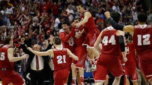 Wisconsin upset the first seeded team, University of Arizona, to place in the 'Final Four'.
