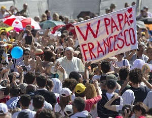 Pope Francis in the midst of the massive crowds who flock to his weekly messages