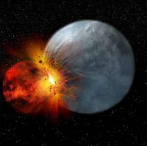 Earth was allegedly struck by a smaller planet which formed the Moon.