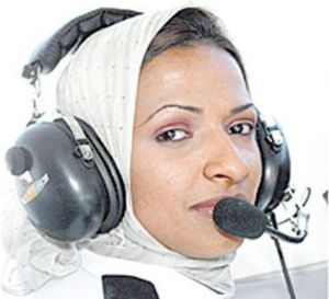Hanadi Al-Hindi, who wears a headscarf, has begun flying small and wide-bodied luxury planes belonging to a fleet from the Kingdom Holding Company (KHC).