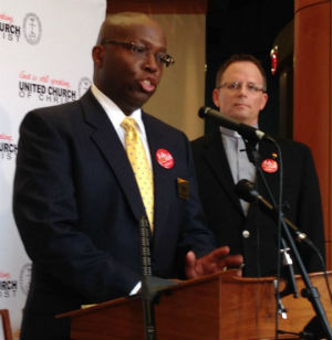 The Rev. Dr. Bernard Wilson, left, and the Rev. Mike Schuenemeyer address a press conference this morning at the Cleveland headquarters of the United Church of Christ, which filed suit in Charlotte, N.C., challenging the constitutionality of the state's anti-same-sex marriage law.