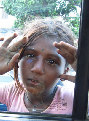 Girls like Kianna in India support their families by begging.