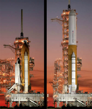 A concept for the NASA SLS shows the difference in sheet size between the space shuttle and the SLS.