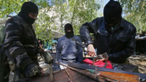 Pro-Russian separatists refurbish rifles in Eastern Ukraine.