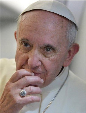 (Pictured: Pope Francis on the plane) - We have an obligation to become men and women of prayer, grounded in the Bible and actual teachings of the magisterium of the Catholic Church. We need to be ready to defend the Church. We also have a special obligation to work with our other Christian friends as they try to sort though what this Pope is actually saying, in the morass of often propagandized media reports.