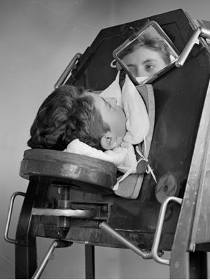 Many children affected by the polio virus were confined to iron lungs, unable to breathe on their own.