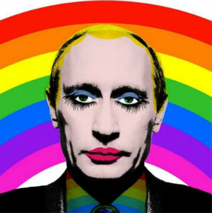 In a bit of agit-prop art, denouncing Vladimir Putin's anti-gay rights stance, Putin warned last month that he was preparing a new, third round of retaliatory sanctions against U.S. and European businessmen connected to Russia.