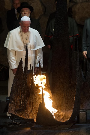 Francis of Rome at the Yad Vashem Holocaust Memorial in Jerusalem on May 26, 2014