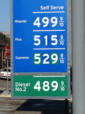 Gas prices, particularly around airports where people fill up before returning rental cars, are exceptionally high. A full tank can exceed $100.