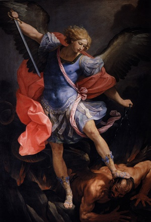 St Michael doing battle with Satan