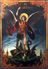 Image of St Michael doing battle with Satan