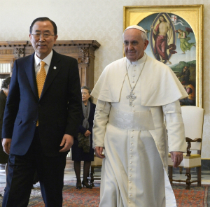 Pope Francis addressed UN Secretary General Ban Kai Moon at the Vatican today.
